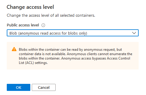 Azure Storage Container Access Level